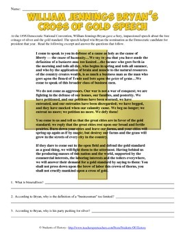 William Jennings Bryan Cross of Gold Speech Analysis Worksheet
