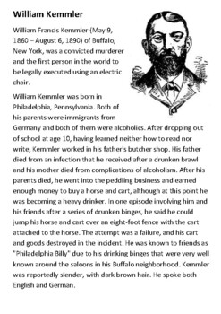 William Kemmler - The Electric Chair Handout