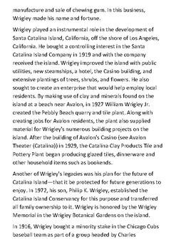William L. Wrigley Jr Handout