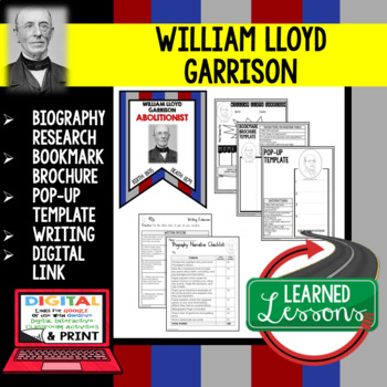 William Lloyd Garrison Biography Research, Bookmark Brochure, Pop-Up, Writing