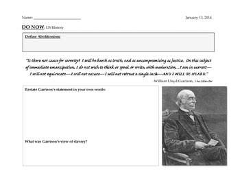 William Lloyd Garrison Quote Analysis - Civil War