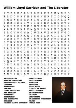 William Lloyd Garrison and The Liberator Word Search