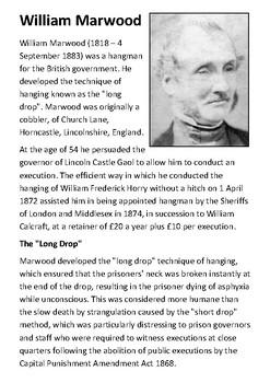 William Marwood  - English Executioner Handout