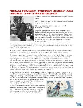 William McKinley Asks Congress to go to War Primary Source Reading