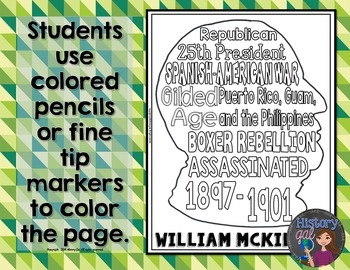 William McKinley Coloring Page and Word Cloud Activity