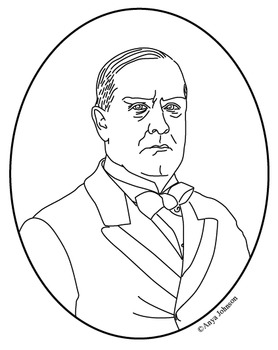 William McKinley (25th President) Clip Art, Coloring Page or Mini Poster
