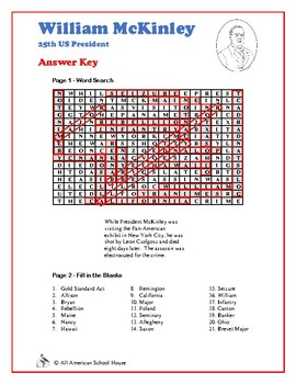 William McKinley - US Presidents Word Search and Fill in the Blanks