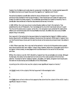 William Penn Biography Article and Assignment Worksheet