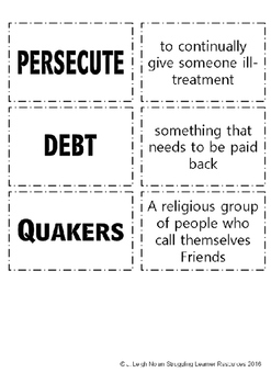 William Penn and the Quakers - Worksheets