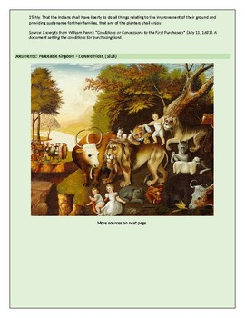 William Penn's Peaceable Kingdom Document Analysis and Thesis Activity
