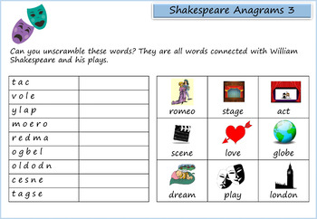 William Shakespeare Activity Pack - 10 Word Searches, Anagrams, Crosswords