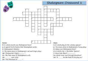 William Shakespeare Puzzle Pack - 10 Word Searches, Anagrams, Crosswords
