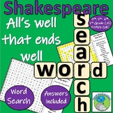 William Shakespeare - All's Well That Ends Well - Character Wordsearch