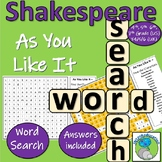 William Shakespeare - As You Like It - Character name wordsearch