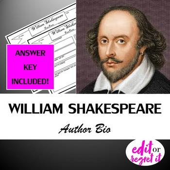 William Shakespeare Author Study Activity, Biography Worksheet Graphic Organizer