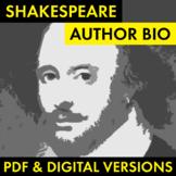 William Shakespeare Author Study Worksheet, PDF & Google D