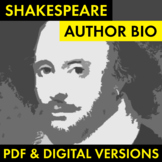 William Shakespeare Author Study Worksheet, Easy Biography