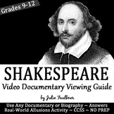 William Shakespeare Biography Video Viewing Guide, Printable and Digital