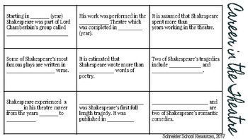 William Shakespeare Biography Workbook Assignment