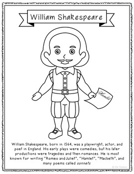 William Shakespeare Coloring Page Craft with Biography, Theater, Writer