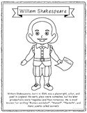 William Shakespeare Coloring Page Craft with Biography, Th