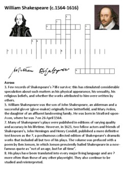 William Shakespeare Crossword