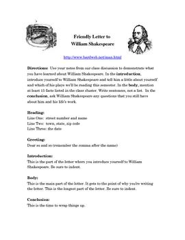William Shakespeare Friendly Letter