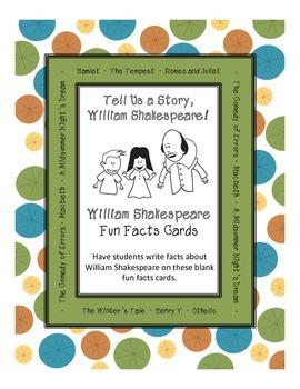 William Shakespeare Fun Facts Cards