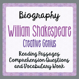 William Shakespeare Biography Reading Passages Activities Grade 4, 5, 6