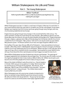 William Shakespeare Biography Reading Passages Activities Grade 4, 5, 6