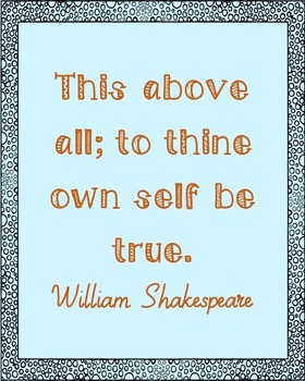 William Shakespeare Honesty Quote Poster, Library Art