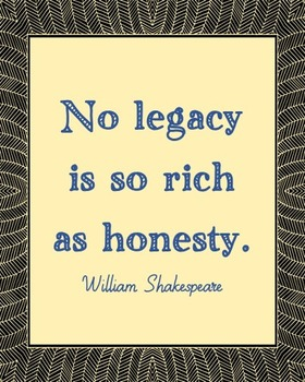 William Shakespeare Honesty Quote Poster