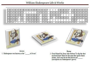 William Shakespeare Life & Works Crossword Puzzle