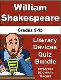 William Shakespeare Literary Devices Quiz Bundle Pack (Gra