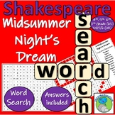 William Shakespeare - Midsummer Night's Dream - Character Name Wordsearch
