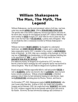 William Shakespeare Outline and KEY