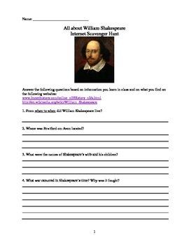 William Shakespeare - Pre reading activities