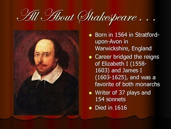 Introduction to Shakespeare - Presentation and Classroom Activities