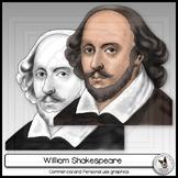 William Shakespeare Realistic Clip Art Portrait