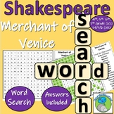 William Shakespeare - The Merchant of Venice - Character Name Word Search