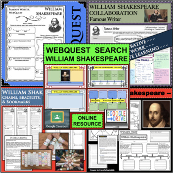 William Shakespeare Timeline Poster Acrostic Poem Activity with Reading Passage