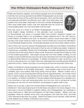 William Shakespeare: Was he really Shakespeare? Informational Texts, Activities