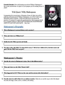 William Shakespeare WebQuest!