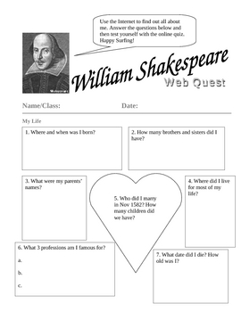 William Shakespeare Webquest by vmqc066 | Teachers Pay ...