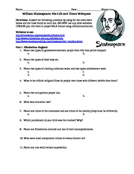 William Shakespeare Webquest & Answer Key