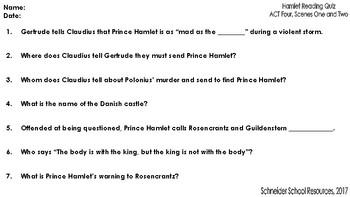 William Shakespeare's Hamlet: ACT Four Reading Quiz