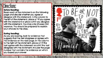 William Shakespeare's Hamlet: Anticipation Guide and Pre Reading Questions
