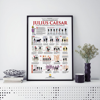 William Shakespeare's Julius Caesar Illustrated Plot Summary Poster (18 x 24)