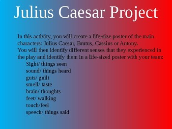 William Shakespeare's Julius Caesar Life-Size Poster Activity