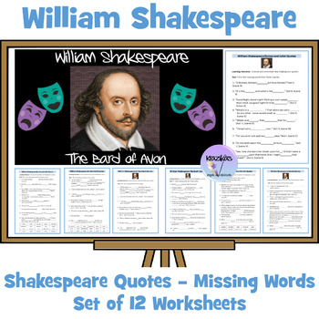 William Shakespeare's Plays - Anagrams and Missing Words